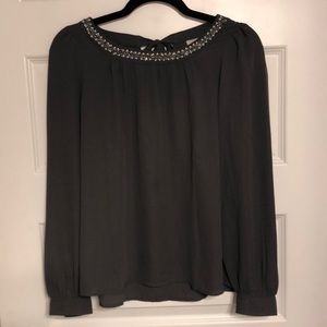 Never Worn! Long-Sleeve Gray Blouse (The Loft)
